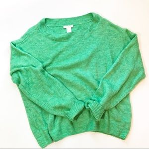 H&M crew neck acrylic blend green sweater Small